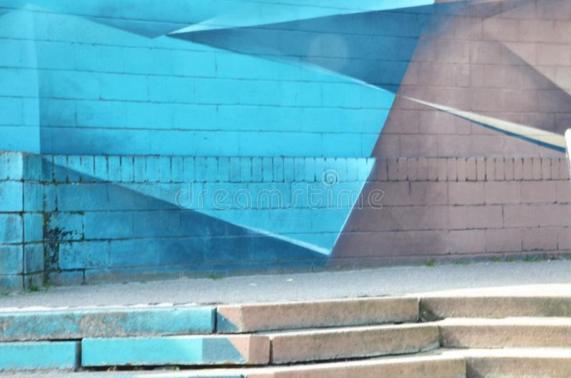Abstract illustration of a street on a blue beige gray staircase. goes up the stairs. Background of empty street asphalt stock photo