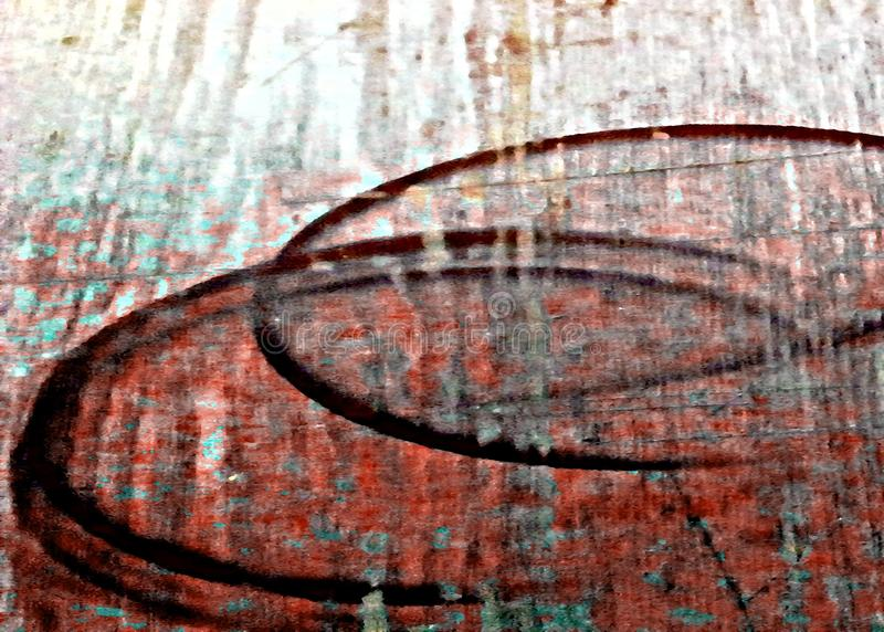 Red shabby, peeling oil-painting old wood surface. stock photos