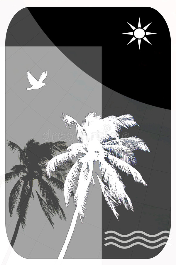 Download Abstract Illustration For Tropical Travel, Palm Trees, Seagulls, Stock Illustration - Illustration: 625988