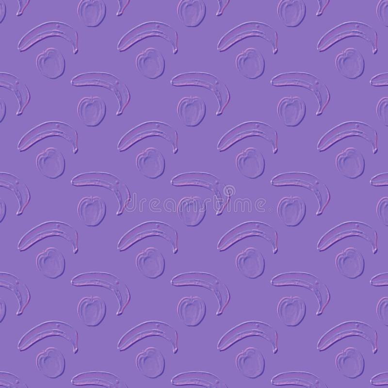 Light violet background for your design. Seamless pattern of bananas and apples. royalty free stock photo