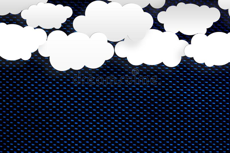 Abstract White Clouds in Dark Blue Texture Background. Abstract illustration of white clouds in dark blue sky with carbon fibers texture background stock illustration