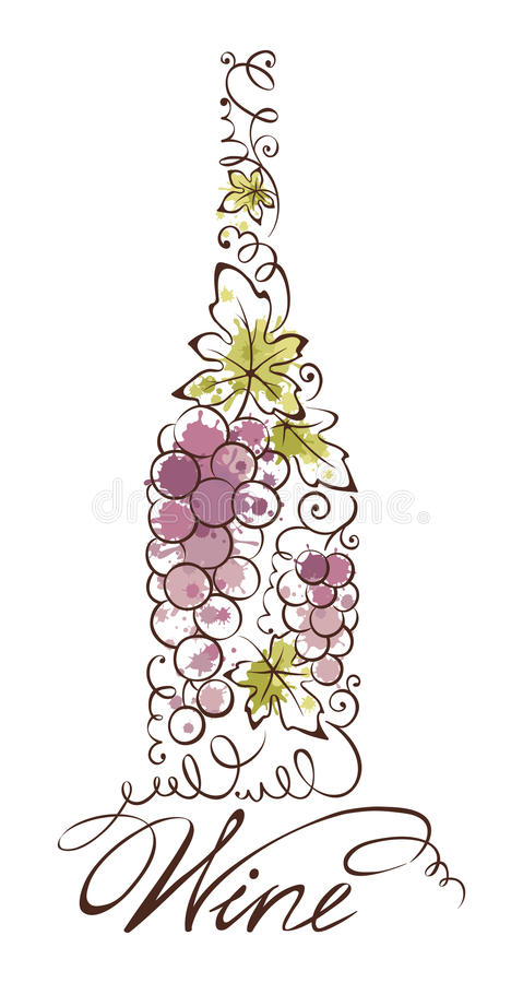 Abstract illustration -- wine bottle stock illustration