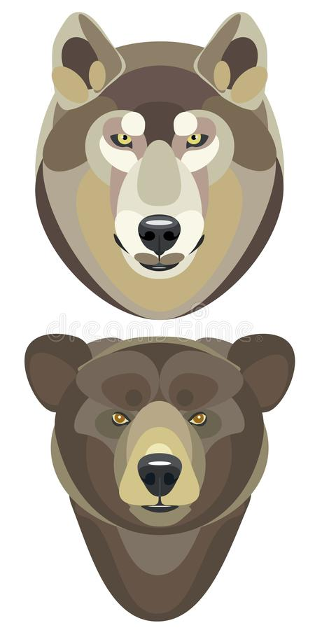 Vector illustration of a wolf and bear heads on a white background stock illustration