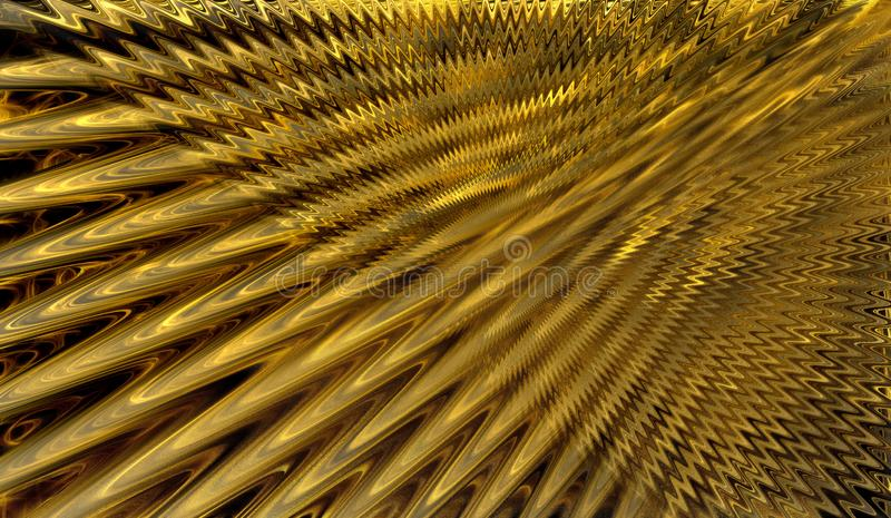 Abstract illustration. Yellow gold. The rays. Waves. vector illustration