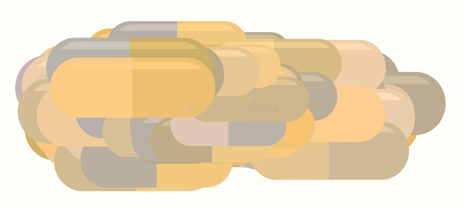 Abstract illustrations of capsules, medicine or pills, conceptual pattern. Style, antioxidant, drawing & digital. Abstract illustrations of capsules, medicine vector illustration