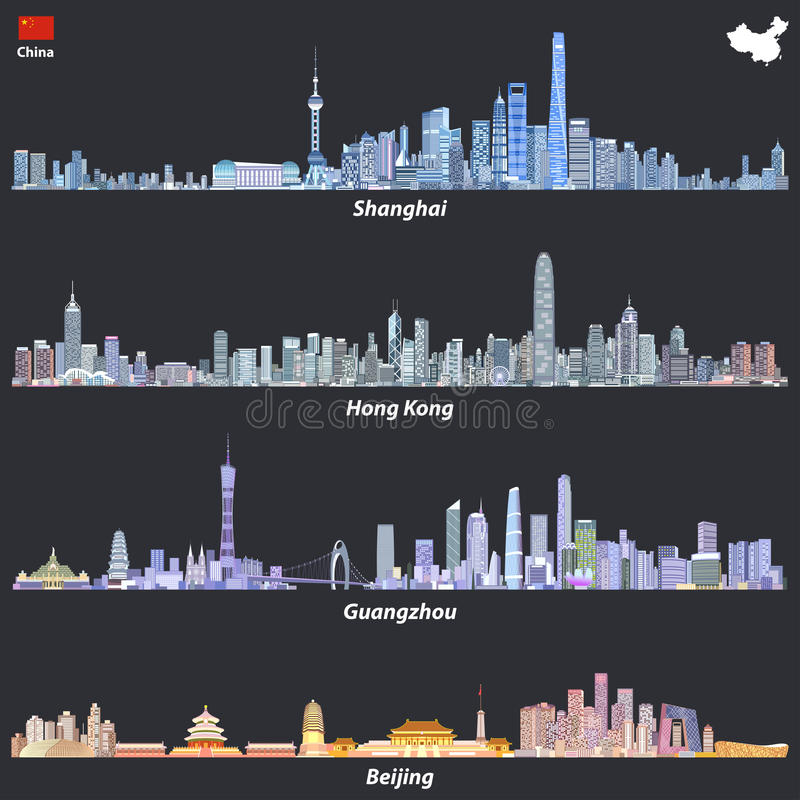 Abstract illustrations of Shanghai, Hong Kong, Guangzhou and Beijing skylines at night with map and flag of China royalty free illustration