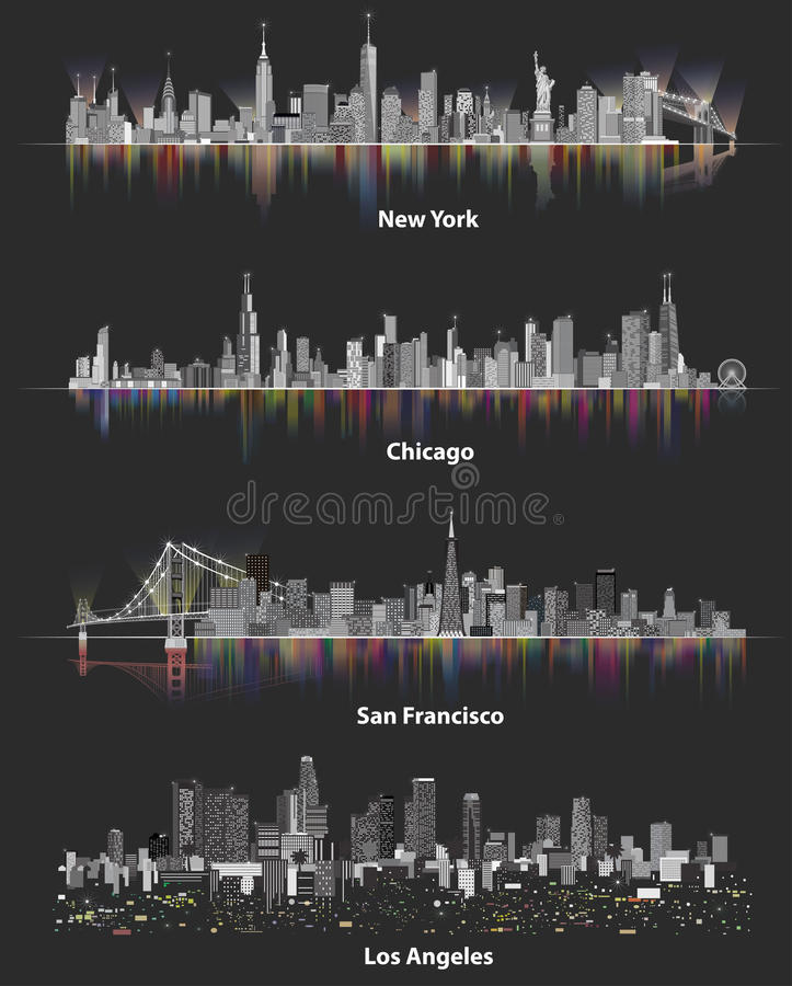 Abstract illustrations of urban United States of America city skylines at night on soft dark background royalty free illustration