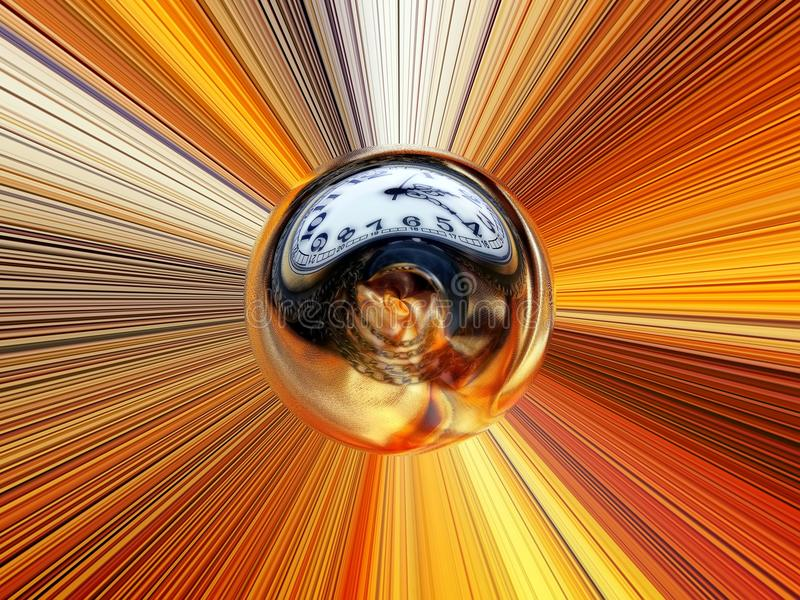 Abstract image of a ball in space with multicolored rays stock illustration