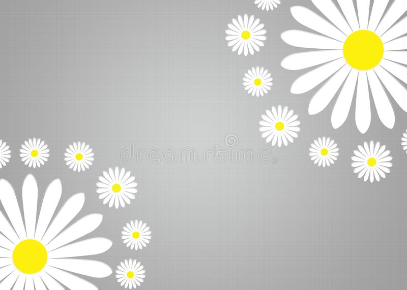 Abstract White Daisy Flowers in Gradated and Textured Grey Background stock image
