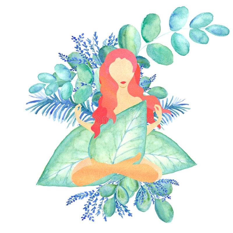 Abstract image of beautiful woman with red hair sitting in bluesh leaves stock illustration