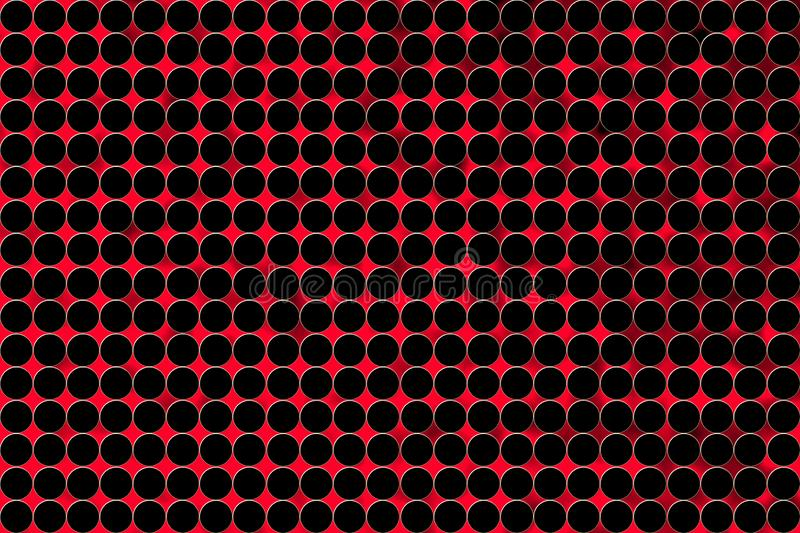 Abstract Seamless Black Circles in Blurred Red Background royalty free illustration