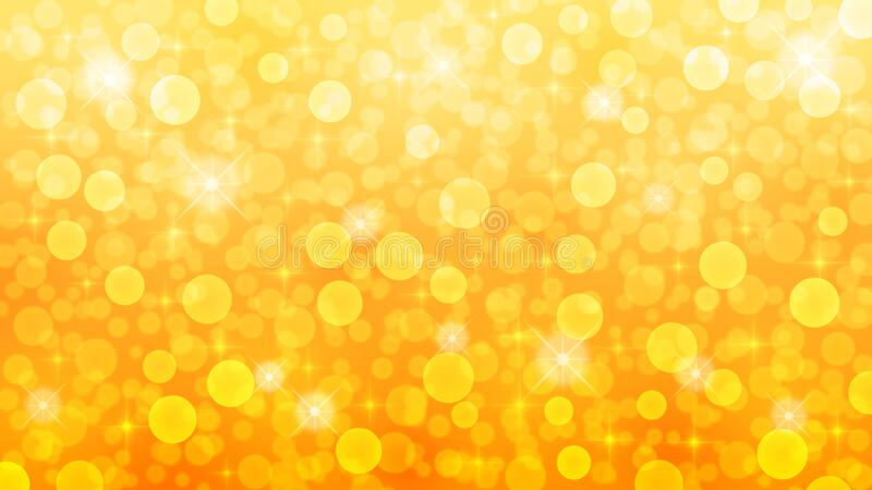 Abstract Blurred Bokeh, Sparkles and Bubbles in Orange and Yellow Gradient Background stock images