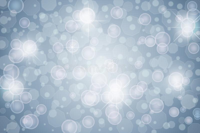 Abstract Lights, Sparkles, Bokeh and Bubbles in Blue Grey Background royalty free stock images
