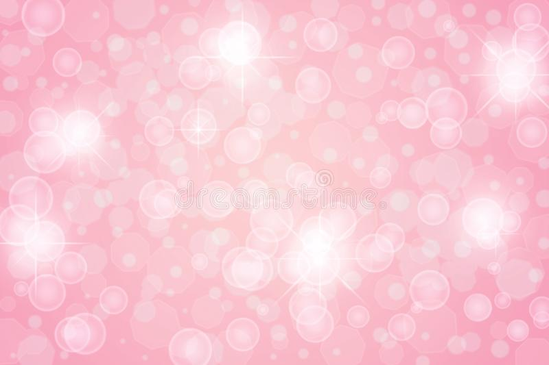 Abstract Bright Stars, Lights, Sparkles and Bubbles in Pink Background. Abstract image of bright lights, stars, bubbles, bokeh and sparkles in light pink vector illustration