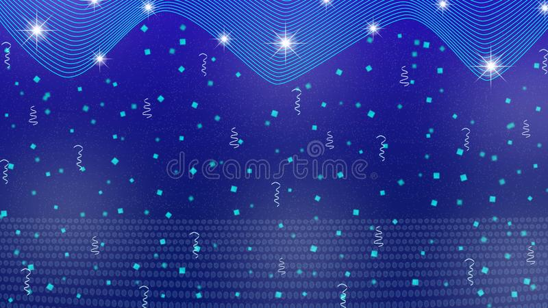 Abstract Bright Stars, Lights, Sparkles, Confetti and Ribbons in Blue Background stock photo