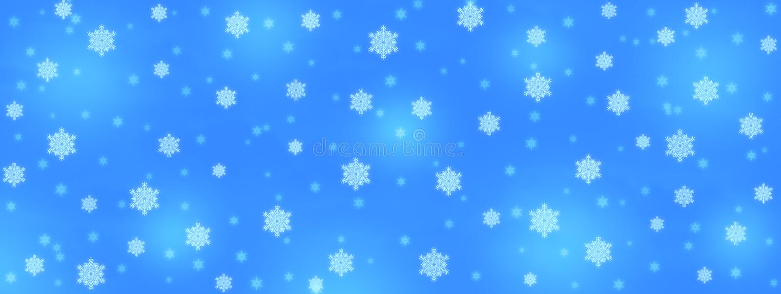 Abstract Falling Snowflakes in Blue Banner Background stock photography