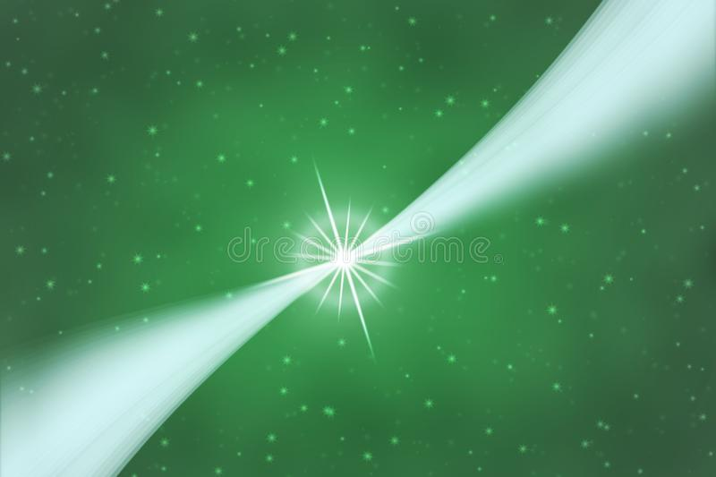 Abstract Bright Star and Blurred White Curves in Green Background stock photo