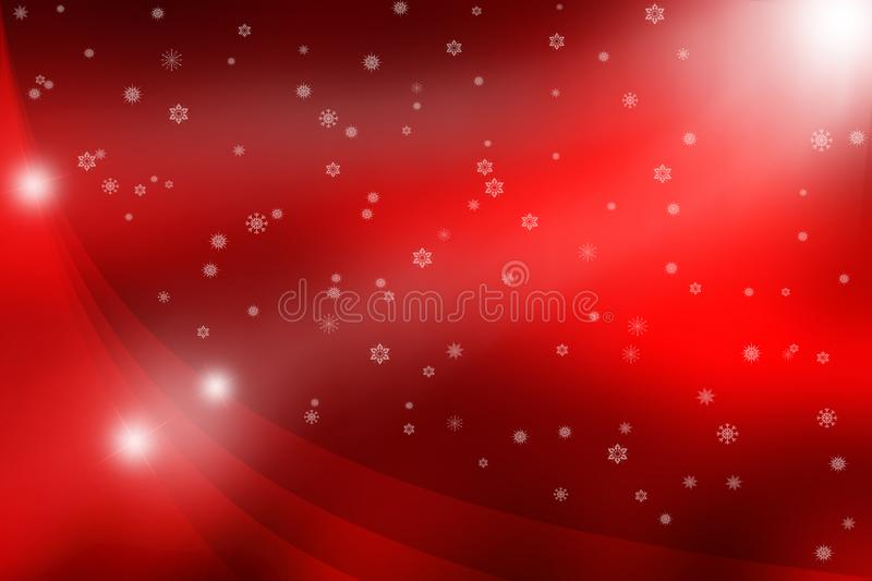 Abstract Bright Stars with Curves and Falling Snowflakes in Red Background royalty free stock images