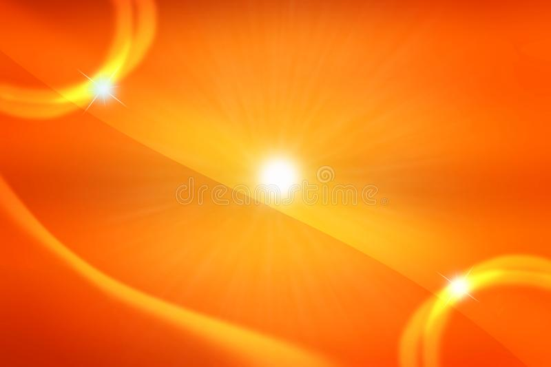 Abstract Yellow Sun and Stars in Warm Orange Background. Abstract image of the bright sun and twinkle stars in deep orange and yellow sky for background stock illustration