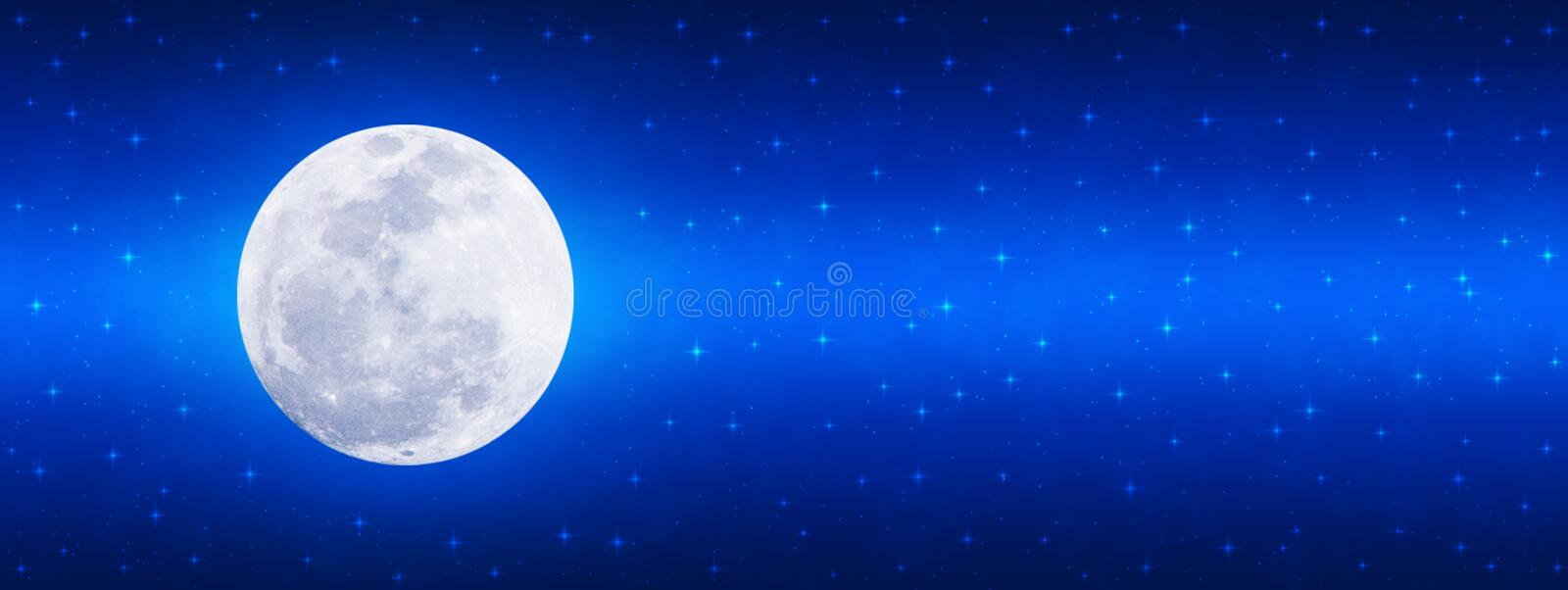 Bright Full Moon and Twinkle Stars in Shining Blue Night Sky Banner Background stock image