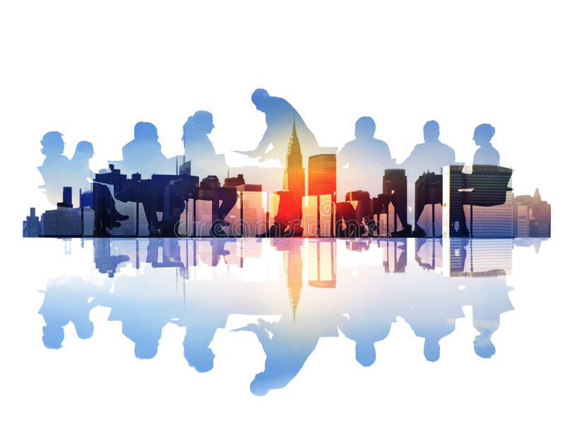 Abstract Image of Business Meeting in a Cityscape stock photo