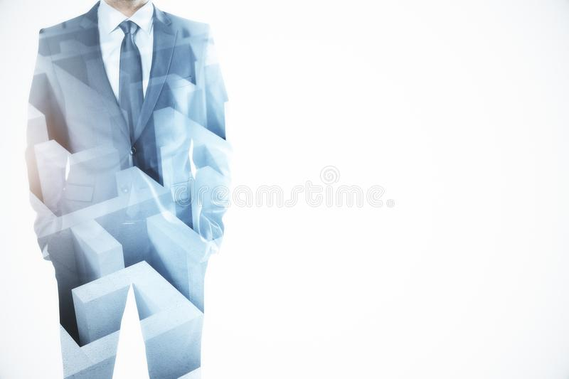 Challenge and solution concept. Abstract image of businessman with maze. Challenge and solution concept. Double exposure royalty free stock photo