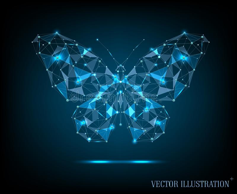 Abstract image of butterfly. Dots and lines connected. royalty free stock image