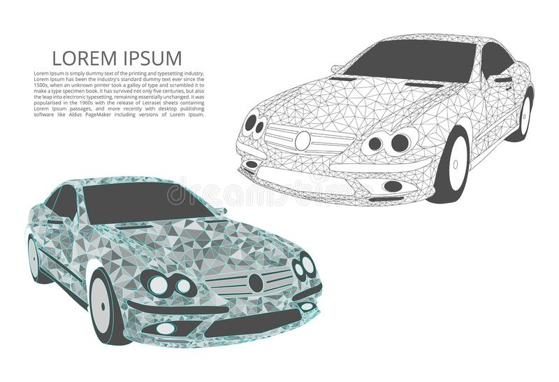 Abstract image of a car in the form of points and lines, triangles, broken glass. Business vector. Two cars. Abstract image of a car in the form of points and vector illustration