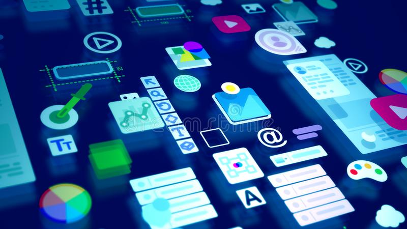Abstract image of childish interface icons. A jolly 3d illustration of multicolored interface elements such as world, play, time, temperature, data, arrow, photo stock illustration