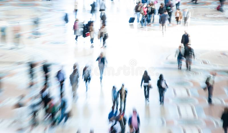 Abstract image of city crowd. Commuters and people shopping stock photo