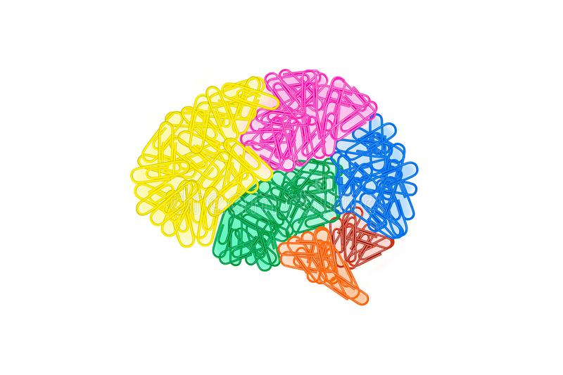 Abstract image of Colorful brains made from many paper clips isolated on white background. royalty free stock photo