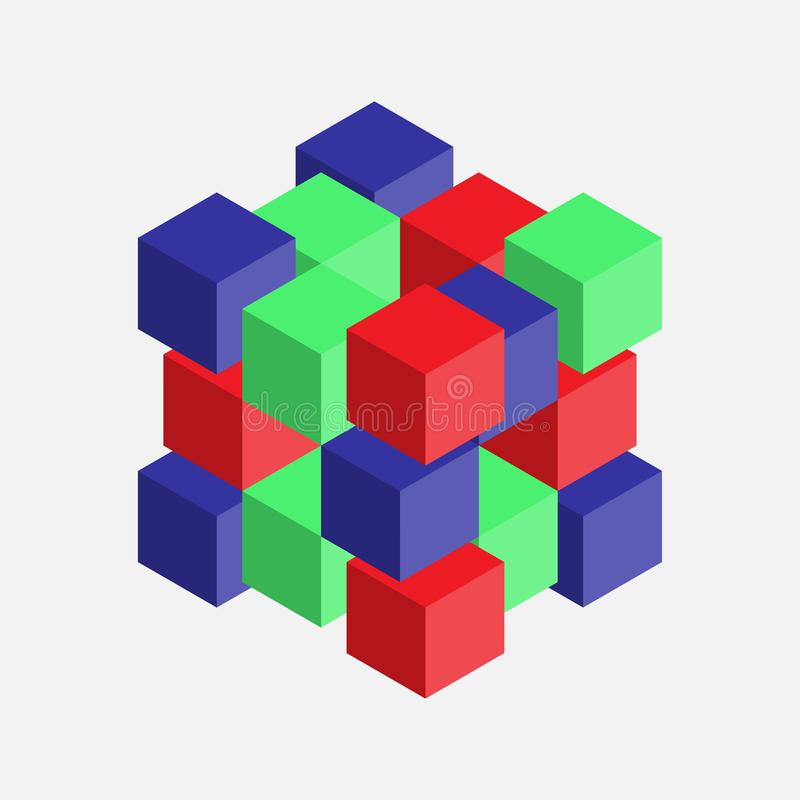 Abstract image with cubes, colorful cubes, 3d composition stock illustration