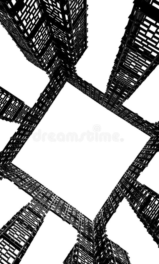 Abstract image, dark grey color, metal construction of geometric shapes on a white background, square patterns vector illustration