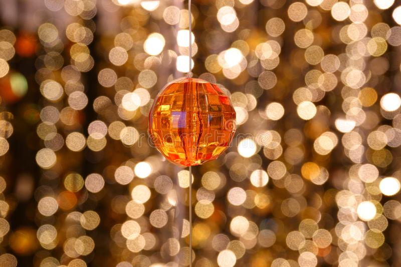 Abstract image Diamond decoration of the lines of crystal chandelier on gold light bokeh royalty free stock images