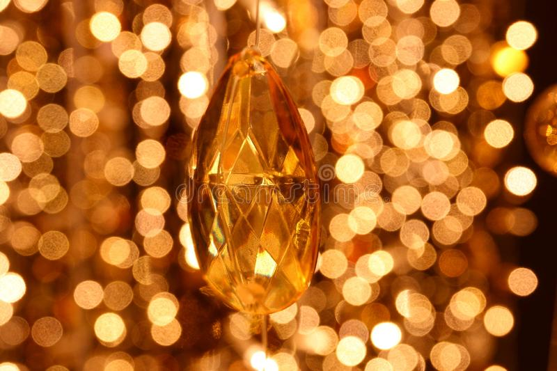 Abstract image Diamond decoration of the lines of crystal chandelier on gold light bokeh royalty free stock photo