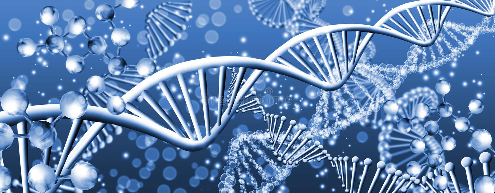 Abstract image of dna chain close up. 3D illustration royalty free illustration