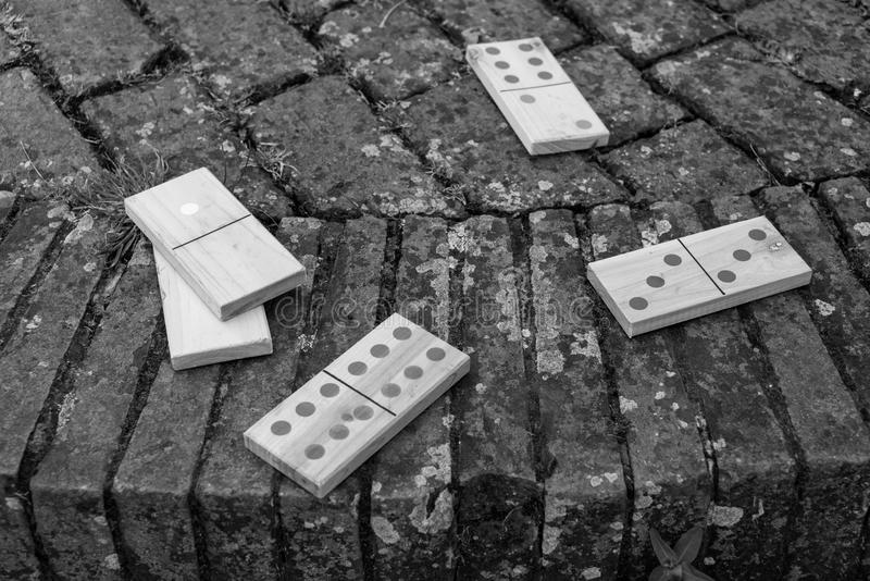Black and white close up of dominoes royalty free stock image