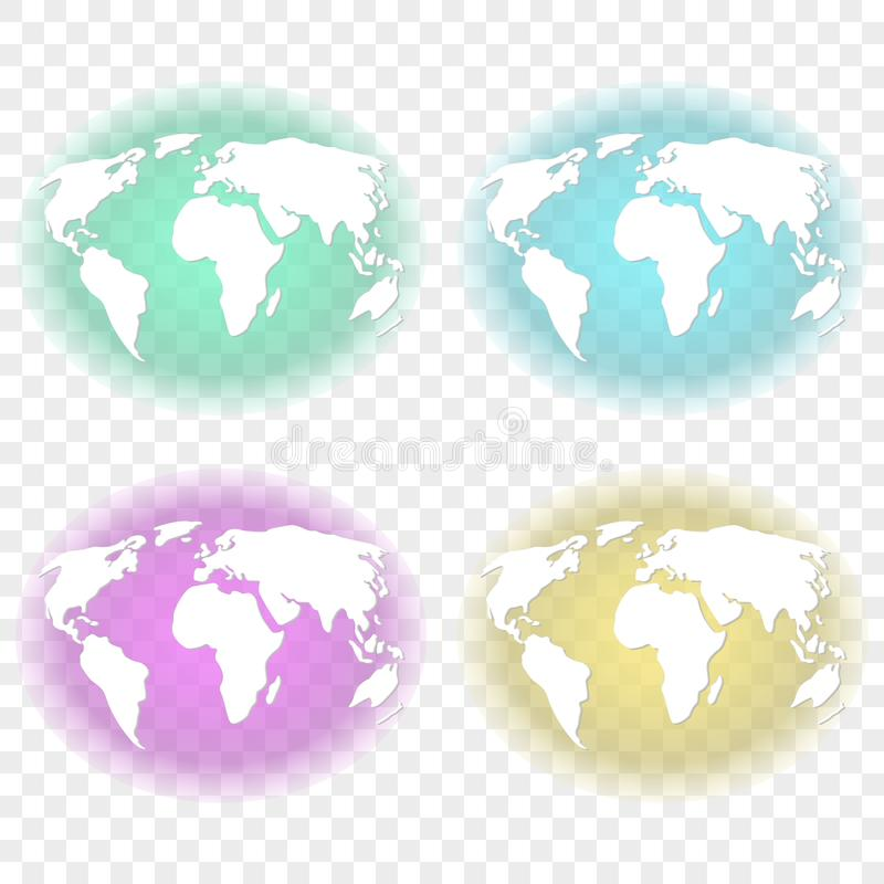 Abstract image of the earth with white continents with transparent backlighting of turquoise, green, feulette and yellow backgroun vector illustration