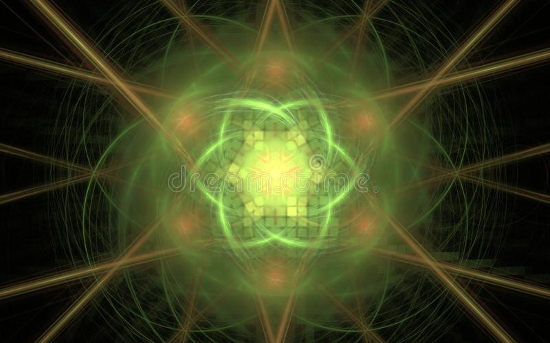 Abstract image of a fabulous flower of green color with a square ornament inside on a background of blurred lines and yellow rays stock illustration