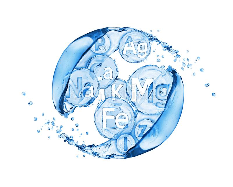 Abstract image of group of chemical minerals and microelements. With water splashes stock illustration