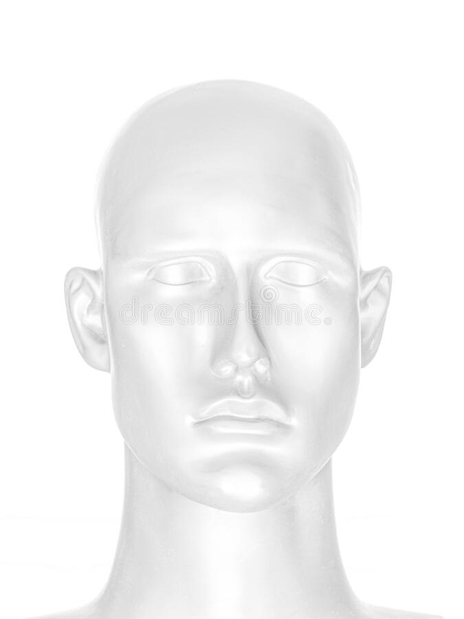 Abstract image of human face. Portrait of mannequin head in high-key style stock images