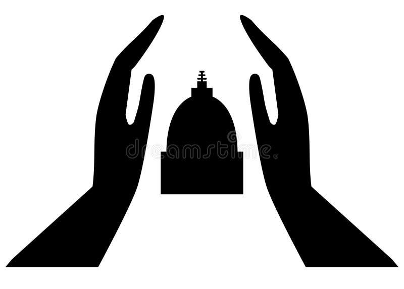 Human hands with votive stupa vector illustration