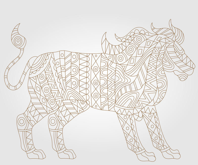 Abstract image of a lion, an illustration of a contour on a light background royalty free illustration