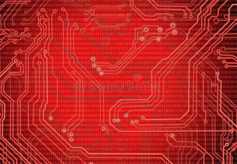 Abstract image of microcircuit against a red background close up. Abstract image of microcircuit against a red background closeup royalty free illustration