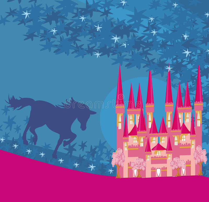 Free Abstract Image Of A Pink Castle And Unicorn Stock Photo - 45424670