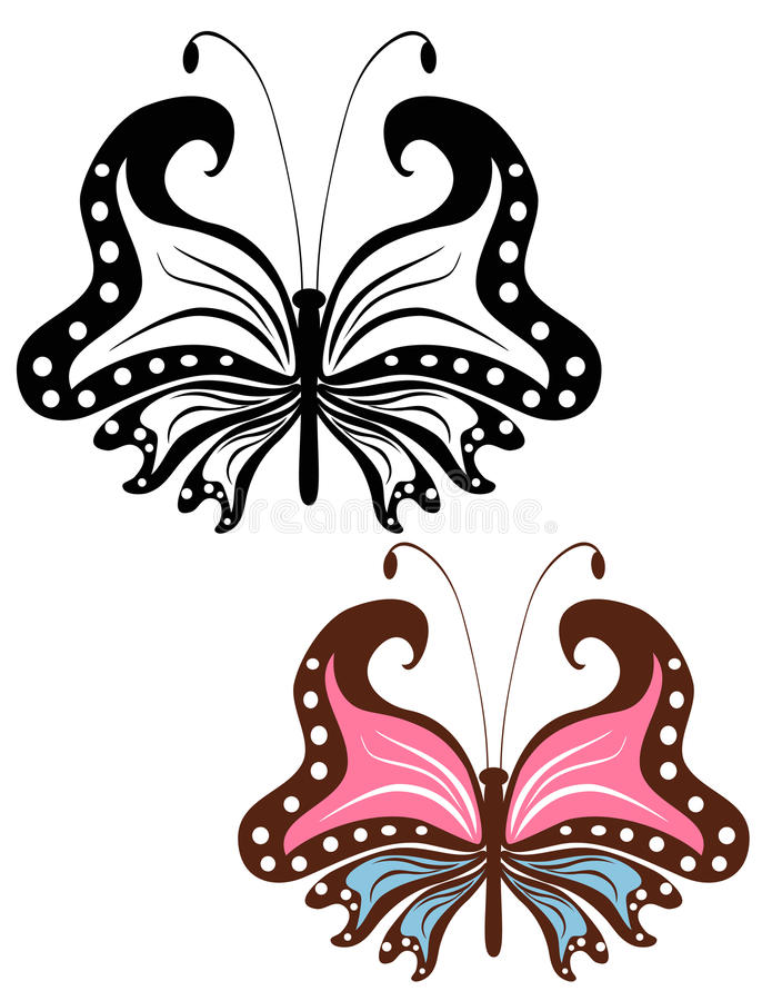 Abstract image openwork butterfly. On a white background royalty free illustration
