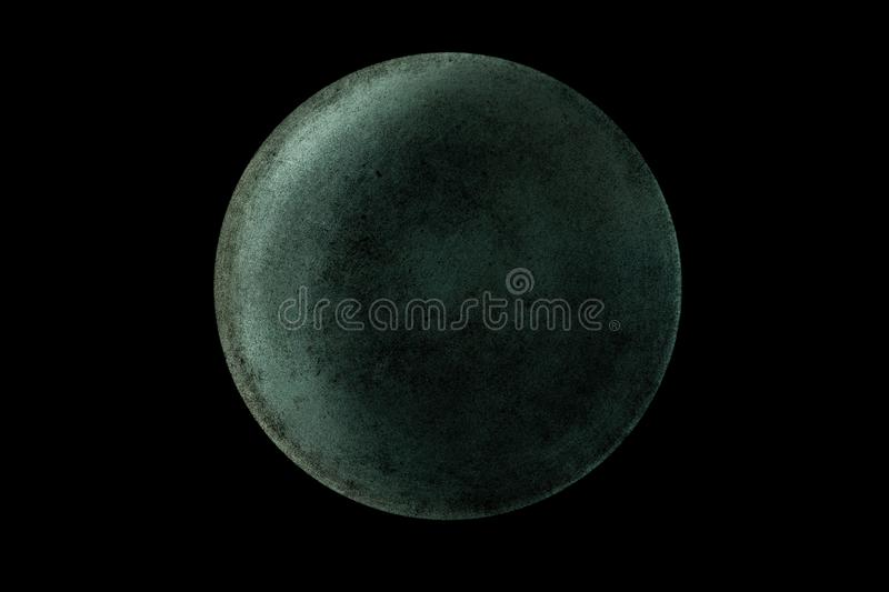 Abstract of planet Uranus from the surface of an old griddle on a black background in space. Abstract image of planet Uranus from the surface of an old griddle royalty free stock photo