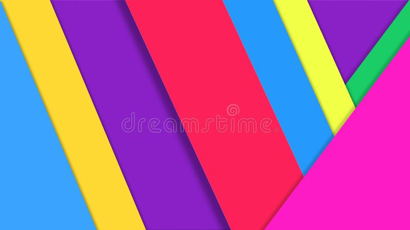 Abstract Color Papers Texture for Geometric Background. Abstract image of purple, blue, red, pink, orange, green and yellow papers for geometric background stock images