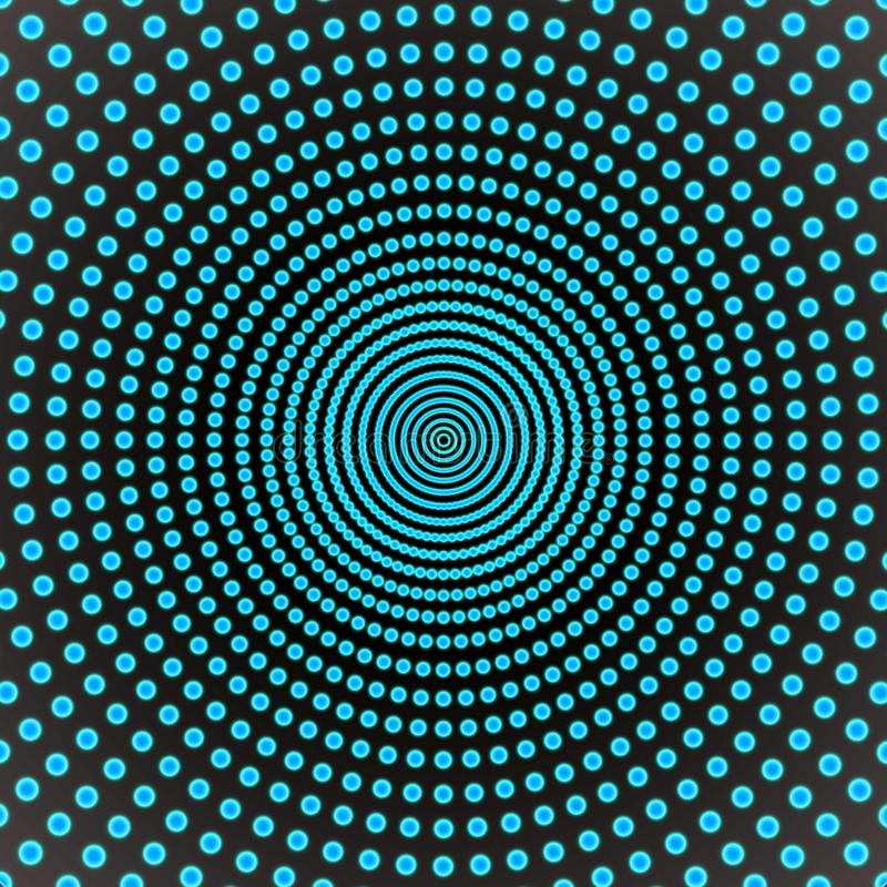 Abstract Spinning Blue Dots in Dark Background royalty free stock images
