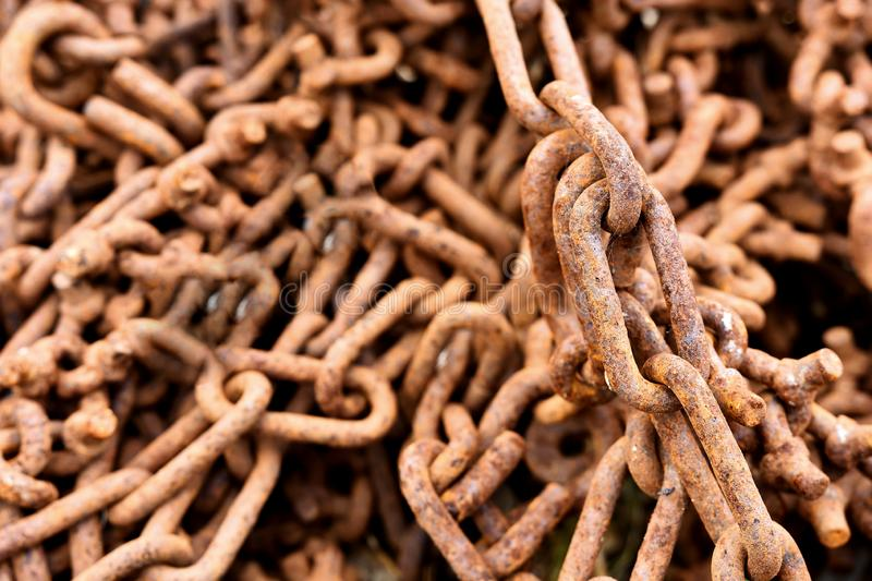 Rusted Old Industrial Tow Chains stock image